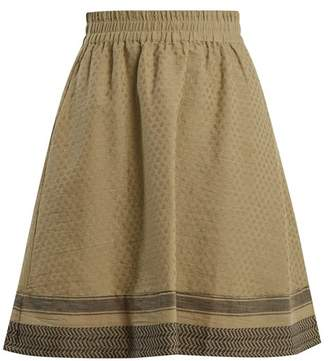 Cecilie Copenhagen - Villablack Scarf Jacquard A Line Cotton Skirt - Womens - Khaki
