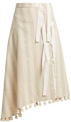 Altuzarra Basilica Diamond Jacquard Cotton Blend Midi Skirt - Womens - Ivory