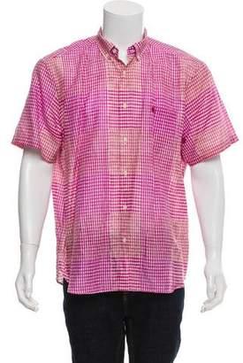 Burberry Linen-Blend Gingham Button-Up Shirt