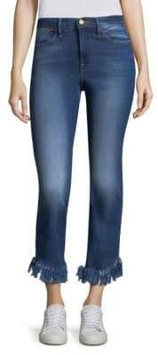 Peserico Le High Straight Shredded-Hem Jeans