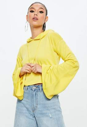 Missguided Yellow Cropped Flared Sleeve Hoodie