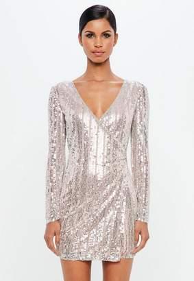 Missguided Silver Embellished Stripe Wrap Mini Dress