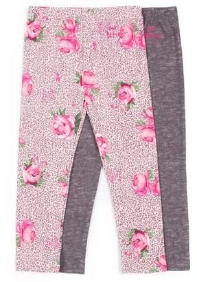 Betsey Johnson Leopard Floral Print & Solid Leggings - Pack of 2 (Toddler Girls)