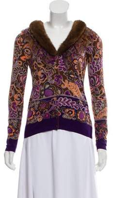 Blumarine Fur-Trimmed Button-Up Cardigan Purple Fur-Trimmed Button-Up Cardigan