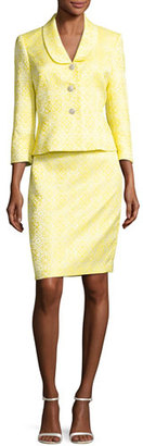 Albert Nipon Floral Jacquard Jacket w/ Pencil Skirt, Yellow/White $385 thestylecure.com