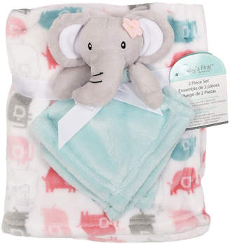 Baby First by Nemcor 2-Piece Blanket Buddy Set, Pink Elephant