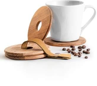 Sagaform Set of 4 Oak Ring Coasters