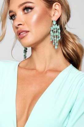boohoo Statement Gemstone Waterfall Earrings