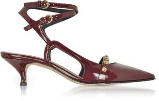 RED Valentino Wine Leather Mid-Heel Pumps