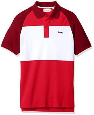 Lacoste Men's Short Sleeve Color Block Life Stripe Pique Classic Polo