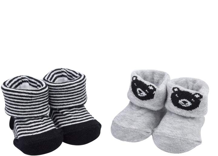 Baby Boy 2-pack Bear & Striped Newborn Booties