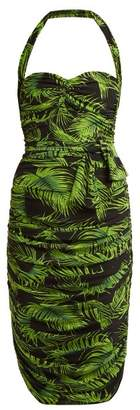 Norma Kamali Palm Print Ruched Dress - Womens - Green Print