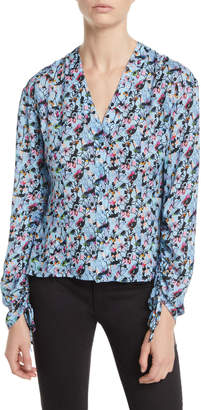 Jason Wu V-Neck Drawstring-Sleeve Floral-Print Silk Blouse
