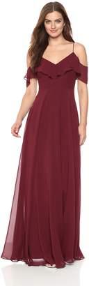 Jenny Yoo Women's Mila Ruffle Cold Shoulder Long Chiffon Gown