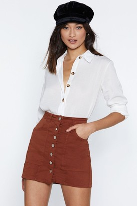 Nasty Gal Come Up Short Button Skirt