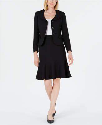 Le Suit Petite Three-Button Diamond Jacquard Skirt Suit
