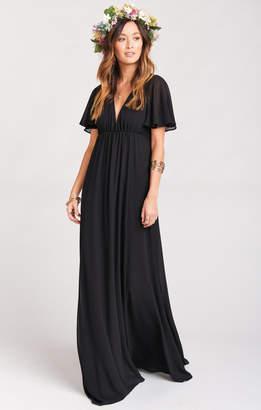 Show Me Your Mumu Faye Flutter Maxi Dress- Black Chiffon