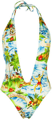 DSQUARED2 Hawaiian print plunge swimsuit