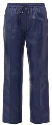 Joseph Dino Drawstring Waist Leather Trousers - Womens - Blue