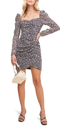 ASTR the Label Floral Ruched Long Sleeve Minidress