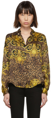 Versace Brown and Yellow Leopard Baroque Shirt