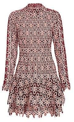 Jonathan Simkhai Women's Gupure Floral Embroidery Flounce Dress