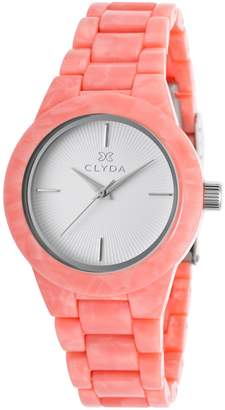 Clyda Women's Salmon Acetate White Dial Silver-Tone Accents