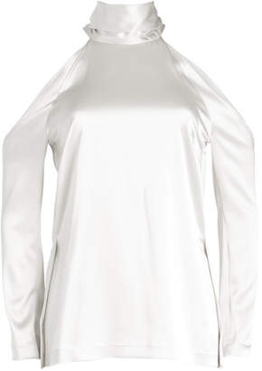 Galvan Satin Blouse with Cut Out Shoulders