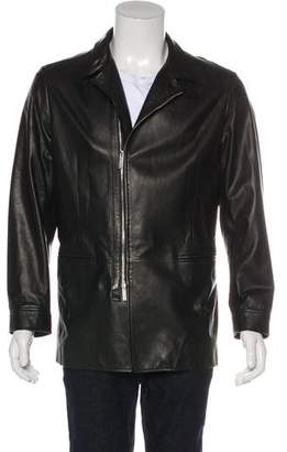 Armani Collezioni Leather Long Coat