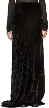Ann Demeulemeester Black Long Velvet Side Tie Skirt