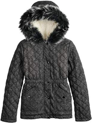 So Girls 4-16 SO Quilted Faux-Fur Anorak Midweight Jacket