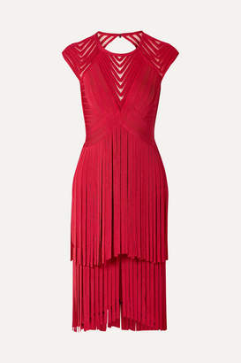 9d79d003d92 Herve Leger Fringed Tulle-trimmed Open-back Bandage Dress - Red