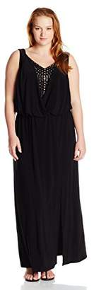 London Times Women's Sleeveless V Neck Jersey Maxi Dress