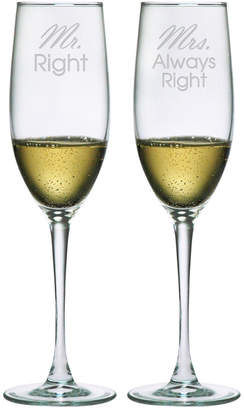 Susquehanna Glass Mr. Right & Mrs. Always Right Set Of Two 8Oz Champagne Flutes