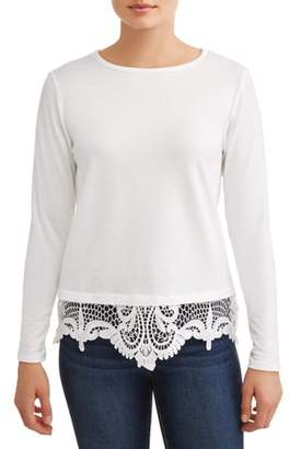 b24d30e01bbd1b Alison Andrews Women's Long Sleeve Lace Detail T-Shirt