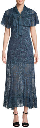 Anna Sui Two-Tone Embroidered Butterfly Crinkle Dress
