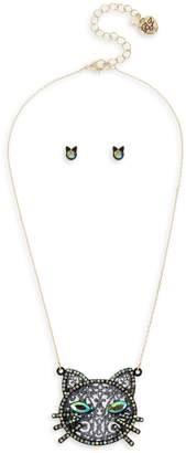 Betsey Johnson Dark Magic 2-Piece Crystal Pendant Necklace Stud Earrings Set