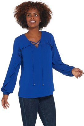Belle By Kim Gravel Belle by Kim Gravel Tie Front Ruffle V-Neck Blouse