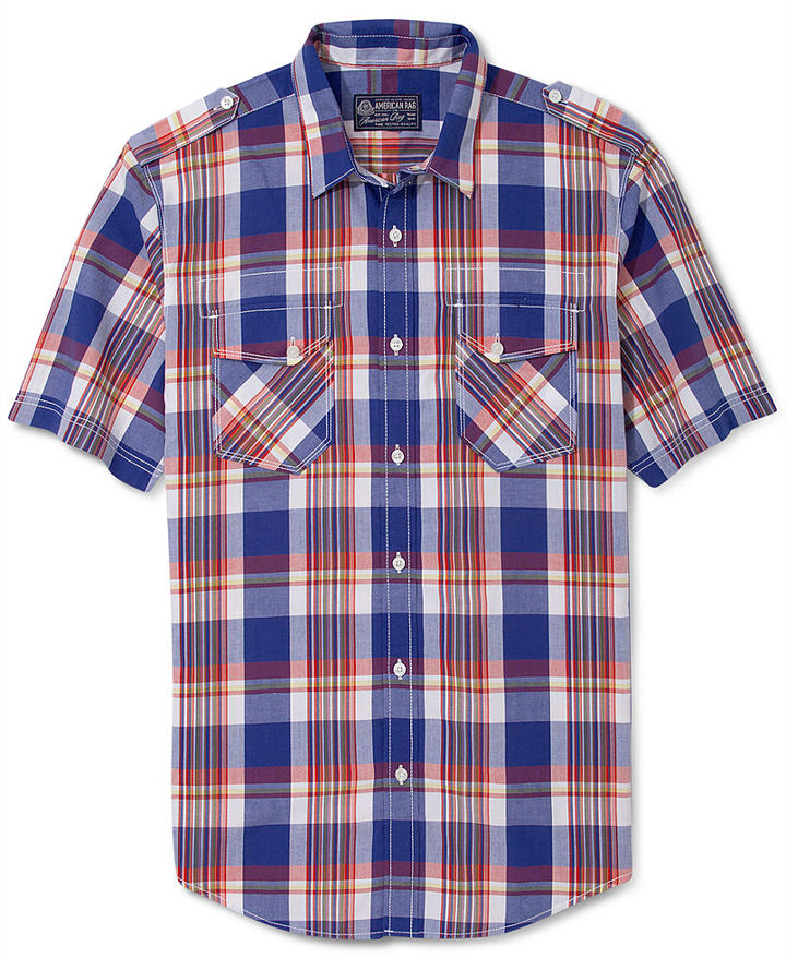 American Rag Shirt, Multicolor Short Sleeve Plaid