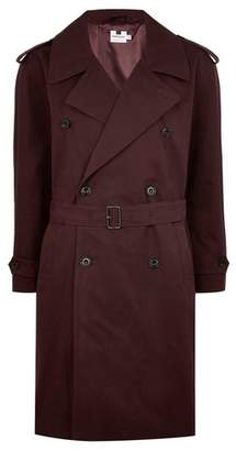 Topman Mens Burgundy Oversized Double Breasted Trench Coat