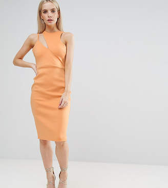 Asos Scuba Cut Out Neck Asymmetric Dress