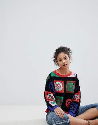 Asos Design DESIGN premium jumper in hand crochet