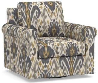 Pottery Barn Cameron Square Arm Slipcovered Swivel Armchair - Print and Pattern