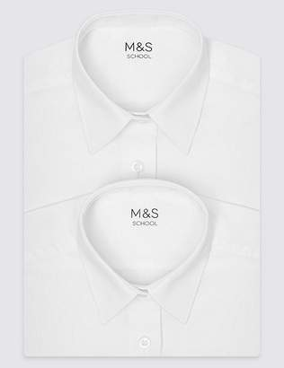 Marks and Spencer 2 Pack Girls' Plus Fit Non-Iron Blouses