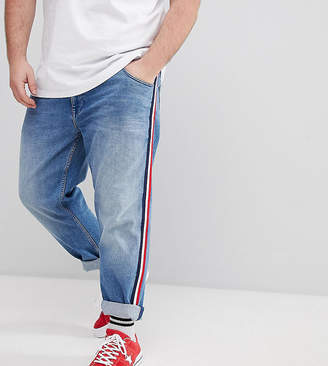 Asos DESIGN Plus Slim Jeans In Mid Wash Blue With White Side Stripe