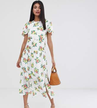 Fashion Union Tall drop hem midi dress in fruit print
