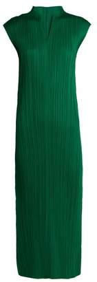 Pleats Please Issey Miyake Pleated V Neck Dress - Womens - Green
