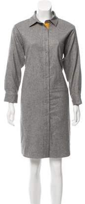 Lyn Devon Cashmere Suede-Trimmed Dress