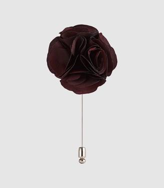 Reiss Piani - Flower Dress Pin in Bordeaux