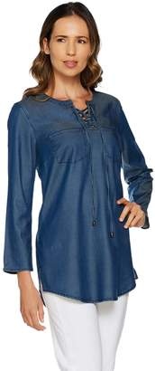 Belle By Kim Gravel Belle by Kim Gravel Stretch Lace-Up Lyocell Shirt w/ Bell Sleeves